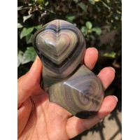 Üst kalite! Oyma Sanatı Gökkuşağı Obsidyen, Çift Kalpli Kristal